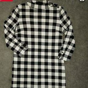 Talbot Buffalo Plaid Mock Turtleneck Dress Size XL